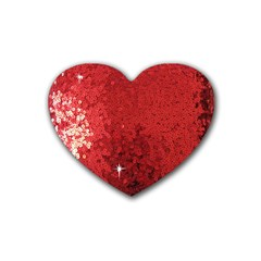 Sequin And Glitter Red Bling 4 Pack Rubber Drinks Coaster (heart)