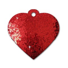 Sequin And Glitter Red Bling Single Sided Dog Tag (heart) by artattack4all