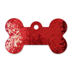Sequin And Glitter Red Bling Twin Sided Dog Tag (bone) by artattack4all