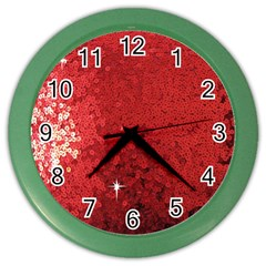 Sequin And Glitter Red Bling Colored Wall Clock by artattack4all