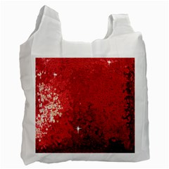 Sequin And Glitter Red Bling Twin Sided Reusable Shopping Bag by artattack4all