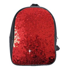 Sequin And Glitter Red Bling Large School Backpack