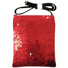 Sequin And Glitter Red Bling Cross Shoulder Sling Bag by artattack4all