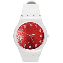 Sequin And Glitter Red Bling Round Plastic Sport Watch Medium by artattack4all