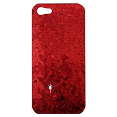 Sequin And Glitter Red Bling Apple Iphone 5 Hardshell Case by artattack4all