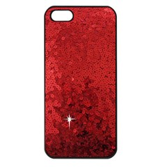 Sequin And Glitter Red Bling Apple Iphone 5 Seamless Case (black) by artattack4all