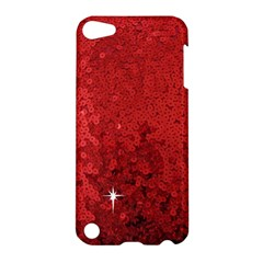 Sequin And Glitter Red Bling Apple Ipod Touch 5 Hardshell Case by artattack4all