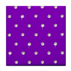 Royal Purple And Silver Bead Bling Ceramic Tile by artattack4all