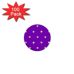 Royal Purple And Silver Bead Bling 100 Pack Mini Button (round) by artattack4all