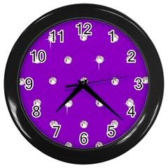 Royal Purple And Silver Bead Bling Black Wall Clock by artattack4all