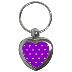 Royal Purple And Silver Bead Bling Key Chain (heart) by artattack4all