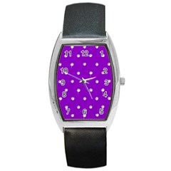 Royal Purple And Silver Bead Bling Black Leather Watch (tonneau) by artattack4all