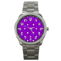 Royal Purple And Silver Bead Bling Stainless Steel Sports Watch (round) by artattack4all