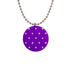 Royal Purple And Silver Bead Bling Mini Button Necklace