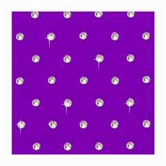 Royal Purple And Silver Bead Bling Single Sided Large Glasses Cleaning Cloth by artattack4all