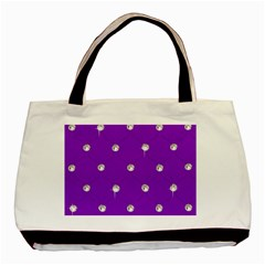 Royal Purple And Silver Bead Bling Twin Sided Black Tote Bag by artattack4all