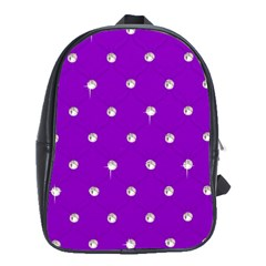 Royal Purple And Silver Bead Bling Large School Backpack