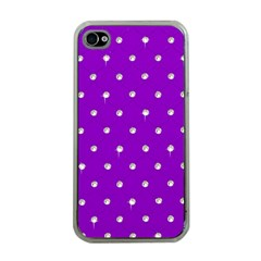 Royal Purple And Silver Bead Bling Apple Iphone 4 Case (clear) by artattack4all