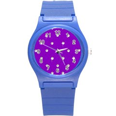 Royal Purple And Silver Bead Bling Round Plastic Sport Watch Small by artattack4all