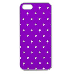 Royal Purple And Silver Bead Bling Apple Seamless Iphone 5 Case (clear) by artattack4all