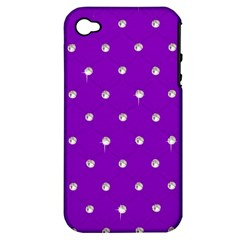 Royal Purple And Silver Bead Bling Apple Iphone 4/4s Hardshell Case (pc+silicone) by artattack4all