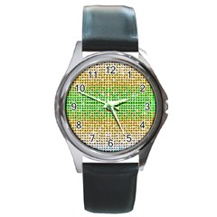 Diamond Cluster Color Bling Black Leather Watch (round) by artattack4all
