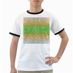 Diamond Cluster Color Bling White Ringer Mens'' T Shirt