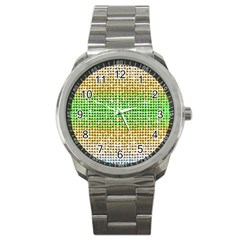 Diamond Cluster Color Bling Stainless Steel Sports Watch (round)