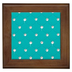Turquoise Diamond Bling Framed Ceramic Tile