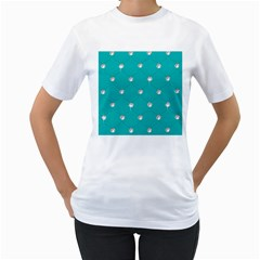 Turquoise Diamond Bling White Womens  T Shirt by artattack4all