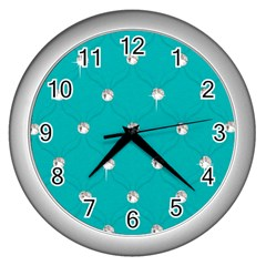 Turquoise Diamond Bling Silver Wall Clock by artattack4all
