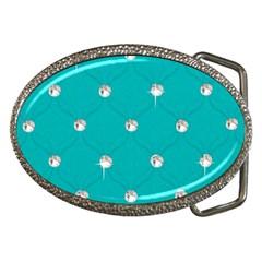 Turquoise Diamond Bling Belt Buckle (oval)