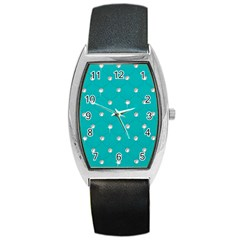 Turquoise Diamond Bling Black Leather Watch (tonneau) by artattack4all