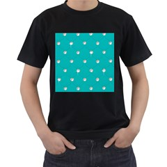 Turquoise Diamond Bling Twin Sided Black Mens'' T Shirt