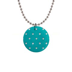 Turquoise Diamond Bling Mini Button Necklace by artattack4all