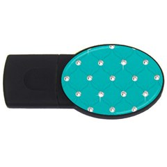 Turquoise Diamond Bling 4gb Usb Flash Drive (oval) by artattack4all