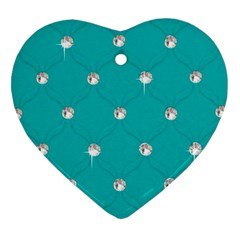 Turquoise Diamond Bling Heart Ornament (two Sides)
