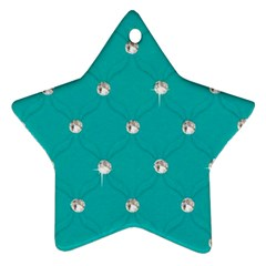 Turquoise Diamond Bling Twin Sided Ceramic Ornament (star) by artattack4all