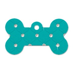 Turquoise Diamond Bling Single Sided Dog Tag (bone)