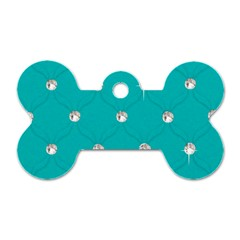 Turquoise Diamond Bling Twin Sided Dog Tag (bone) by artattack4all