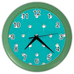 Turquoise Diamond Bling Colored Wall Clock by artattack4all
