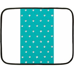 Turquoise Diamond Bling Twin Sided Mini Fleece Blanket by artattack4all