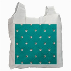 Turquoise Diamond Bling Single Sided Reusable Shopping Bag by artattack4all