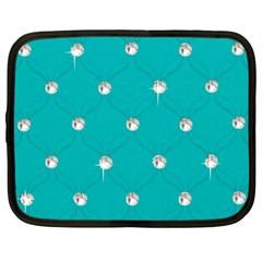 Turquoise Diamond Bling 15  Netbook Case by artattack4all