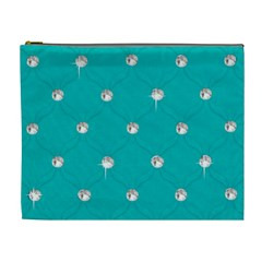 Turquoise Diamond Bling Extra Large Makeup Purse by artattack4all