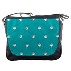 Turquoise Diamond Bling Messenger Bag by artattack4all