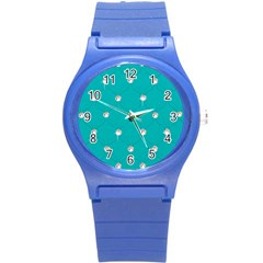 Turquoise Diamond Bling Round Plastic Sport Watch Small