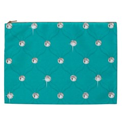 Turquoise Diamond Bling Cosmetic Bag (xxl) by artattack4all