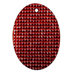 Deep Red Sparkle Bling Ceramic Ornament (oval) by artattack4all