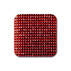Deep Red Sparkle Bling Rubber Drinks Coaster (square) by artattack4all
